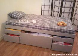 Tous lits doubles tiroirs espace et mieux tre - Lit double avec tiroir pour matelas ...