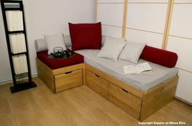 lit banquette tiroirs par espace et mieux tre. Black Bedroom Furniture Sets. Home Design Ideas